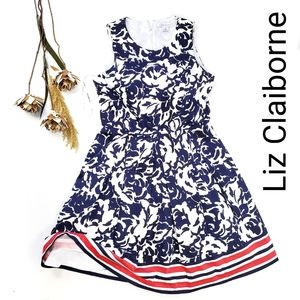 Liz Claiborne  Blue White Floral Fit Flare Dress 8
